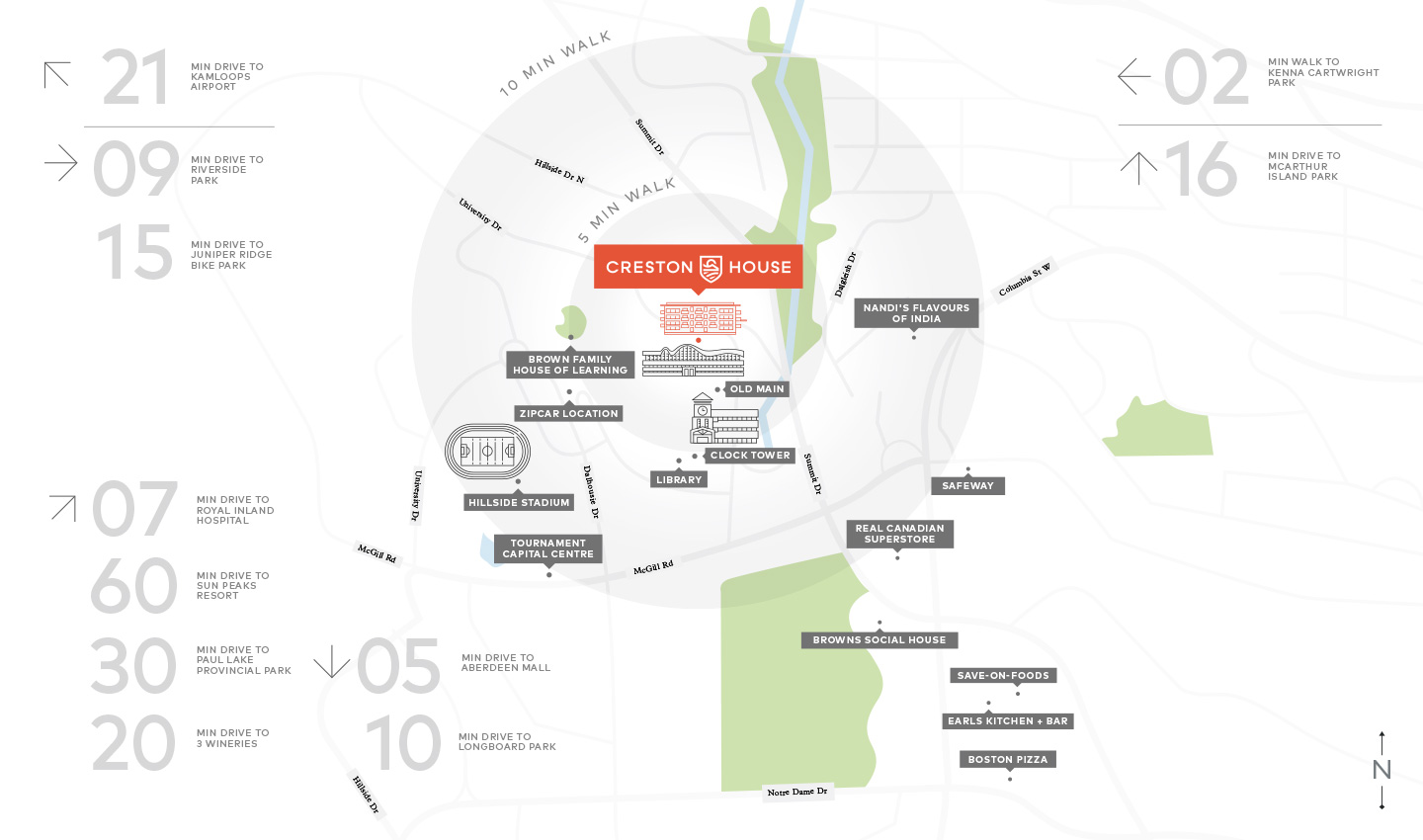 thompson rivers university community map - creston house